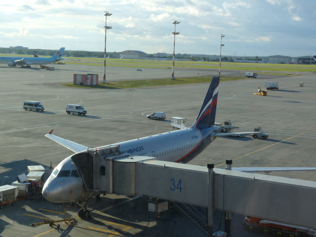 Malý A319 od Areflotu, s kterým jsme letěli z Dubaje do Moskvy.