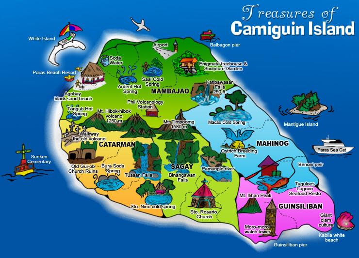 Mapa Camiguinu,zdroj: tripnatripkoto.blogspot.com