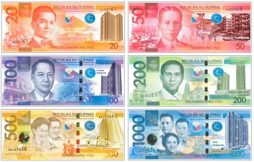 Všechny filipínské bankovky pohromadě
