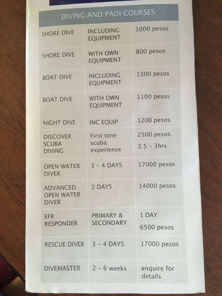 Ceny potápěčského centra na Modessa islandu
